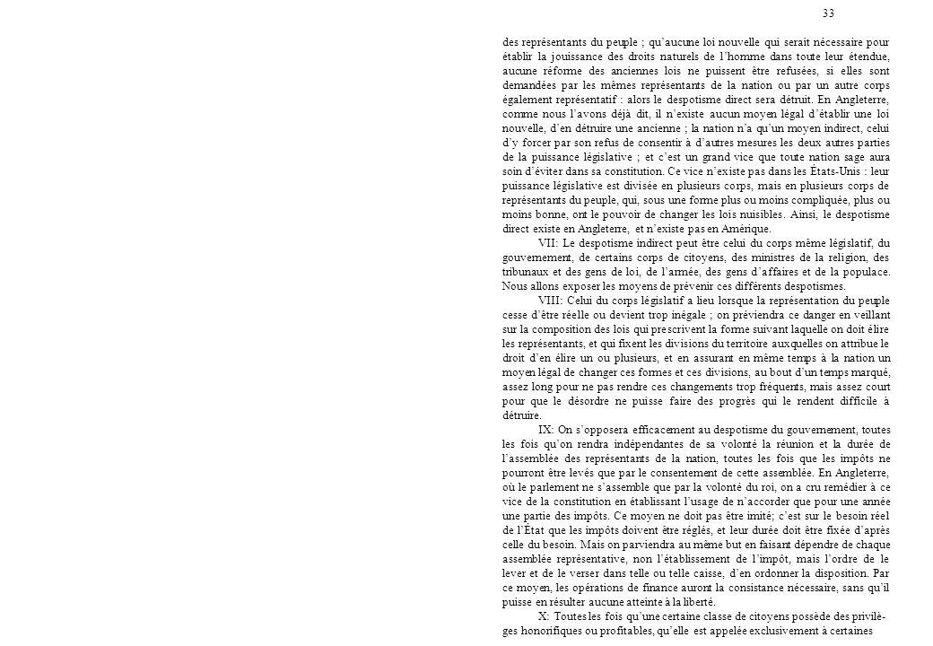 33 des représentants du peuple ; qu'aucune loi nouvelle qui serait nécessaire pour établir la jouissance des droits naturels de l'homme dans toute leu