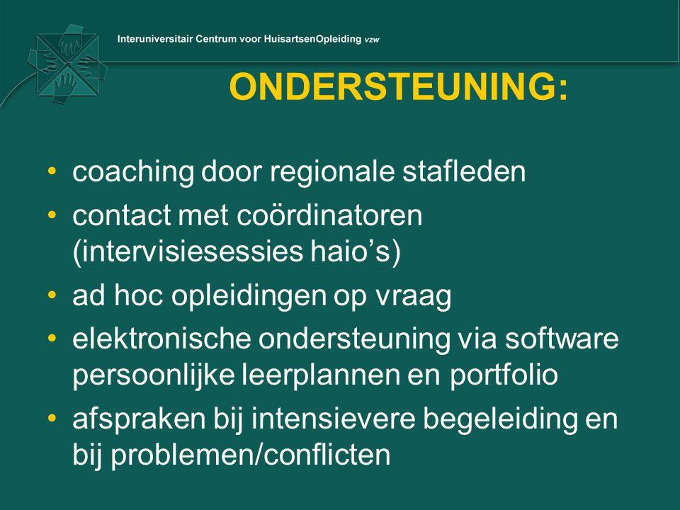 ONDERSTEUNING: coaching door regionale stafleden contact met coördinatoren (intervisiesessies haio's) ad hoc opleidingen op vraag elektronische onders