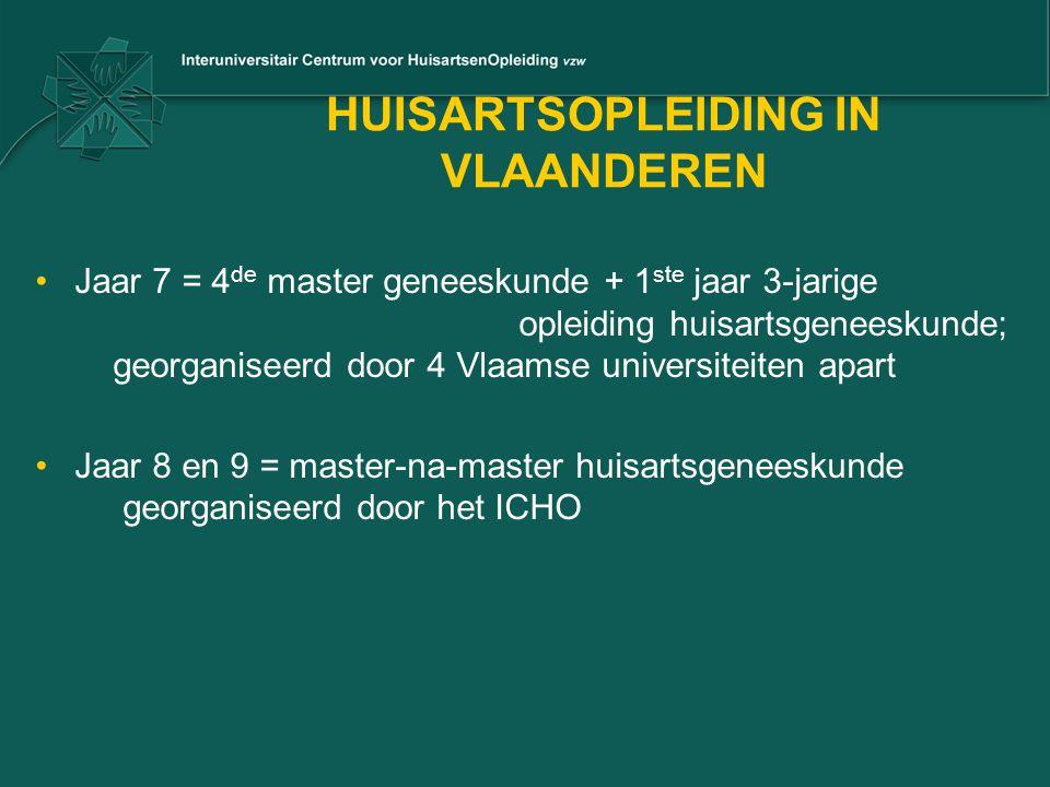 HUISARTSOPLEIDING IN VLAANDEREN Jaar 7 = 4 de master geneeskunde + 1 ste jaar 3-jarige opleiding huisartsgeneeskunde; georganiseerd door 4 Vlaamse uni