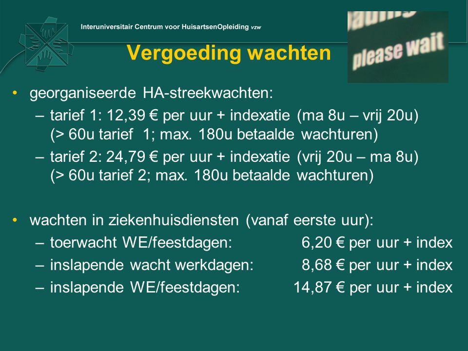 Vergoeding wachten georganiseerde HA-streekwachten: –tarief 1: 12,39 € per uur + indexatie (ma 8u – vrij 20u) (> 60u tarief 1; max. 180u betaalde wach