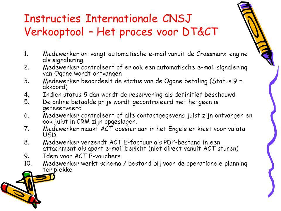 Instructies Internationale CNSJ Verkooptool – Het proces voor DT&CT 1.Medewerker ontvangt automatische e-mail vanuit de Crossmarx engine als signalering.