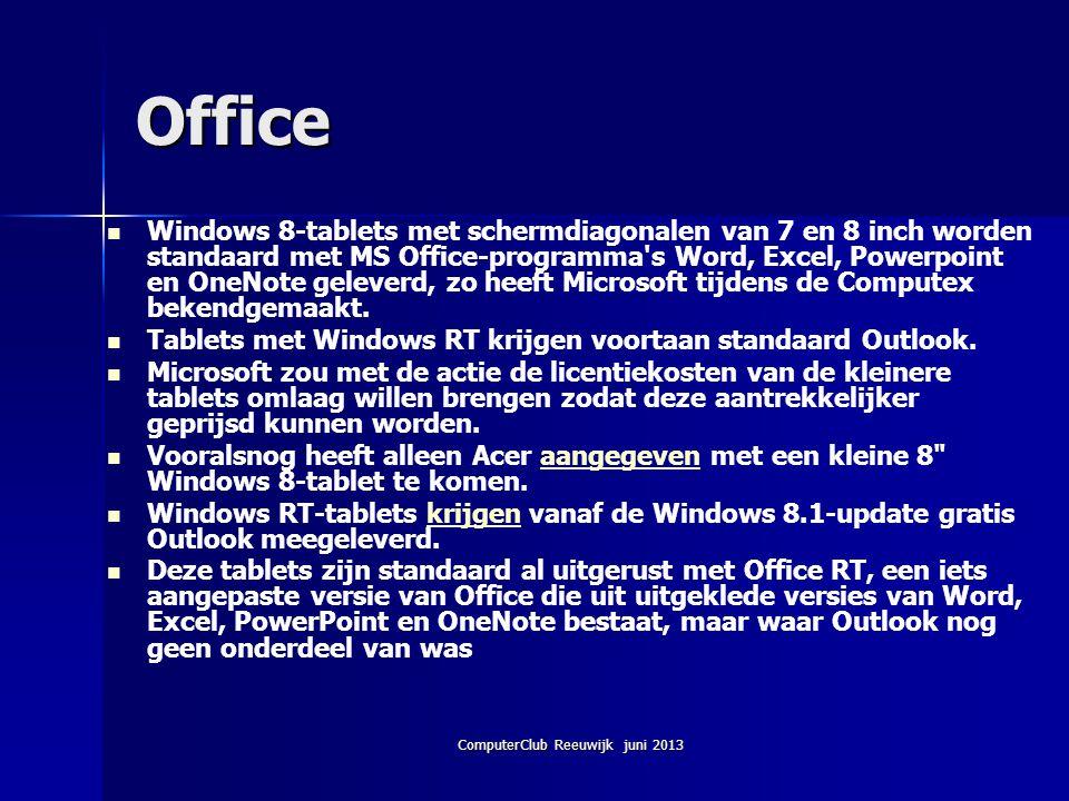 ComputerClub Reeuwijk juni 2013 Office Windows 8-tablets met schermdiagonalen van 7 en 8 inch worden standaard met MS Office-programma's Word, Excel,