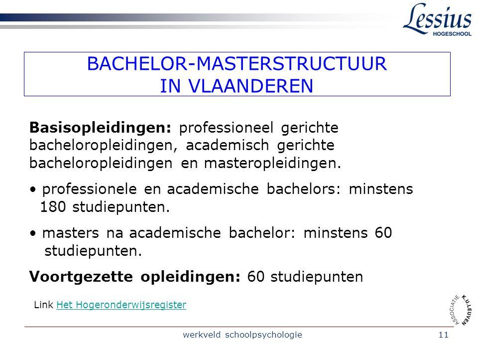 werkveld schoolpsychologie11 BACHELOR-MASTERSTRUCTUUR IN VLAANDEREN Basisopleidingen: professioneel gerichte bacheloropleidingen, academisch gerichte