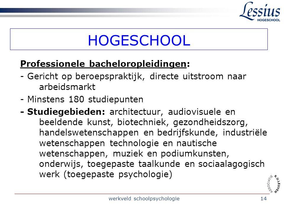 werkveld schoolpsychologie14 HOGESCHOOL Professionele bacheloropleidingen: - Gericht op beroepspraktijk, directe uitstroom naar arbeidsmarkt - Minsten