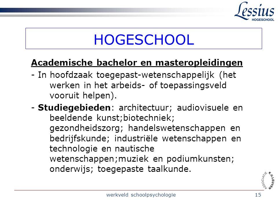 werkveld schoolpsychologie15 HOGESCHOOL Academische bachelor en masteropleidingen - In hoofdzaak toegepast-wetenschappelijk (het werken in het arbeids