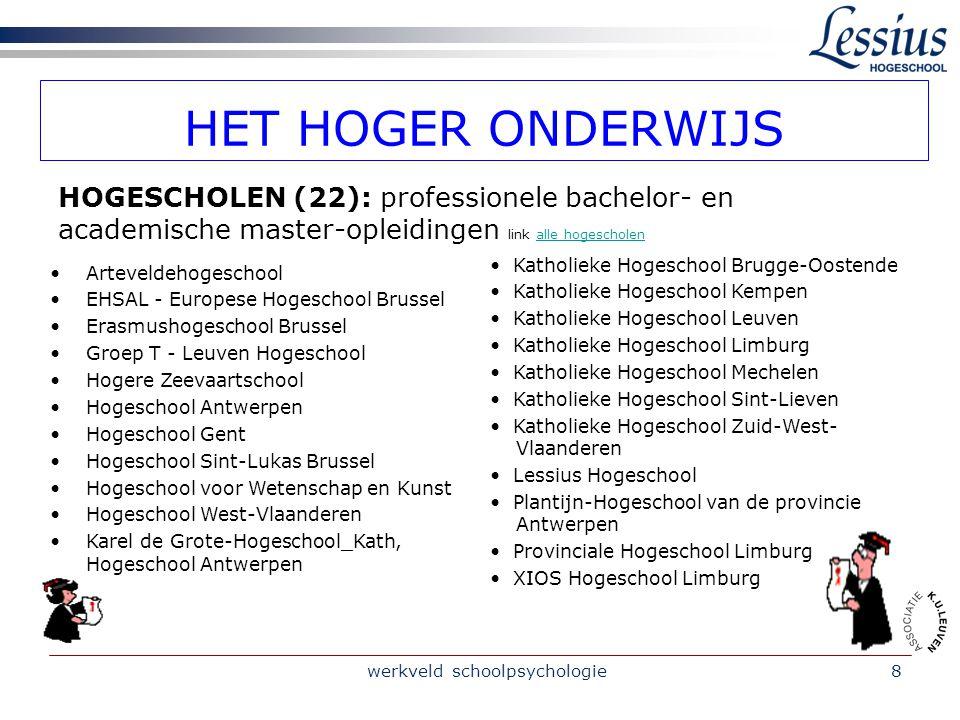 werkveld schoolpsychologie8 HET HOGER ONDERWIJS Arteveldehogeschool EHSAL - Europese Hogeschool Brussel Erasmushogeschool Brussel Groep T - Leuven Hog