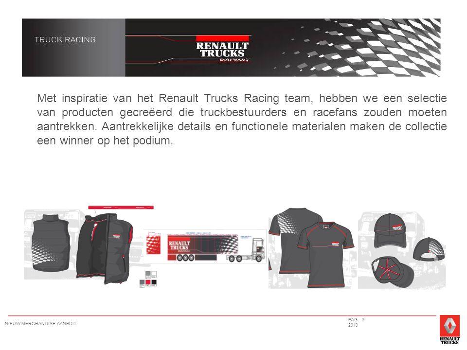 Met inspiratie van het Renault Trucks Racing team, hebben we een selectie van producten gecreëerd die truckbestuurders en racefans zouden moeten aantrekken.