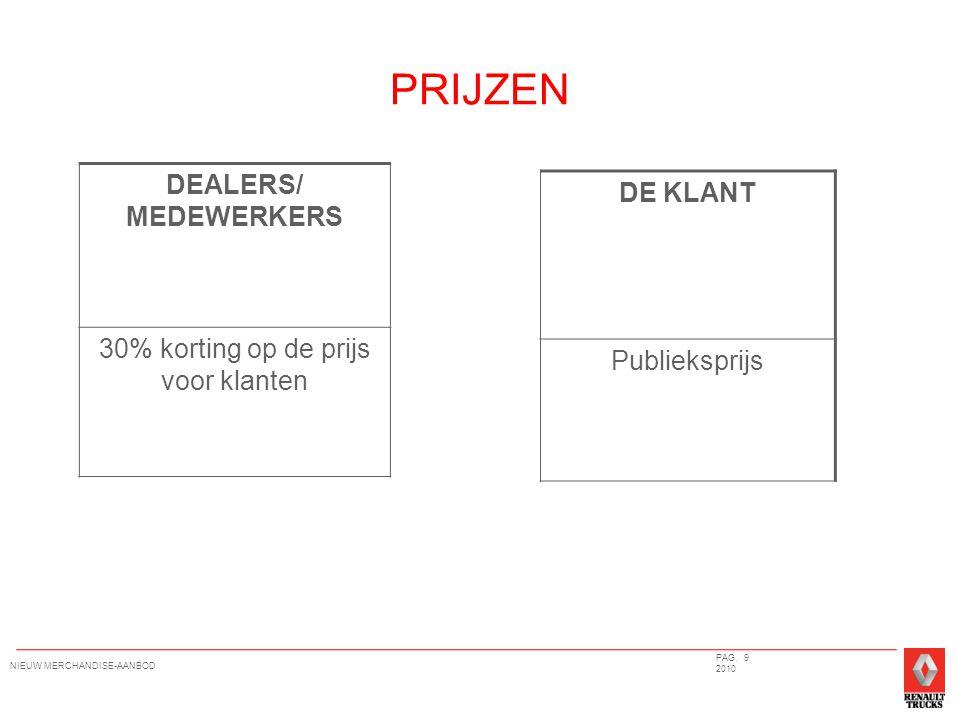 PRIJZEN DEALERS/ MEDEWERKERS 30% korting op de prijs voor klanten DE KLANT Publieksprijs PAG.