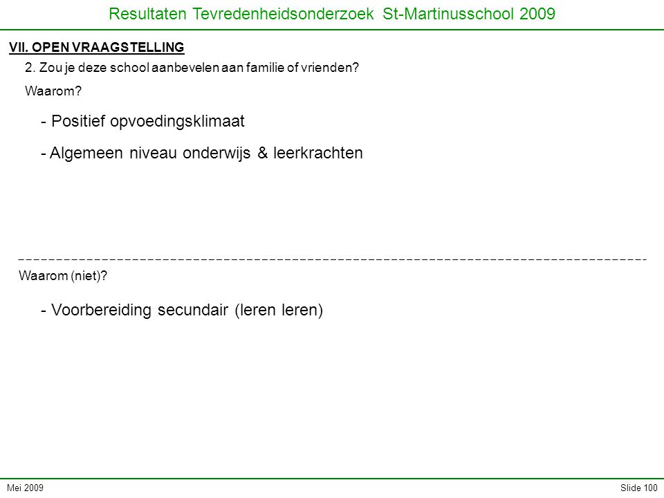 Mei 2009 Resultaten Tevredenheidsonderzoek St-Martinusschool 2009 Slide 100 VII.