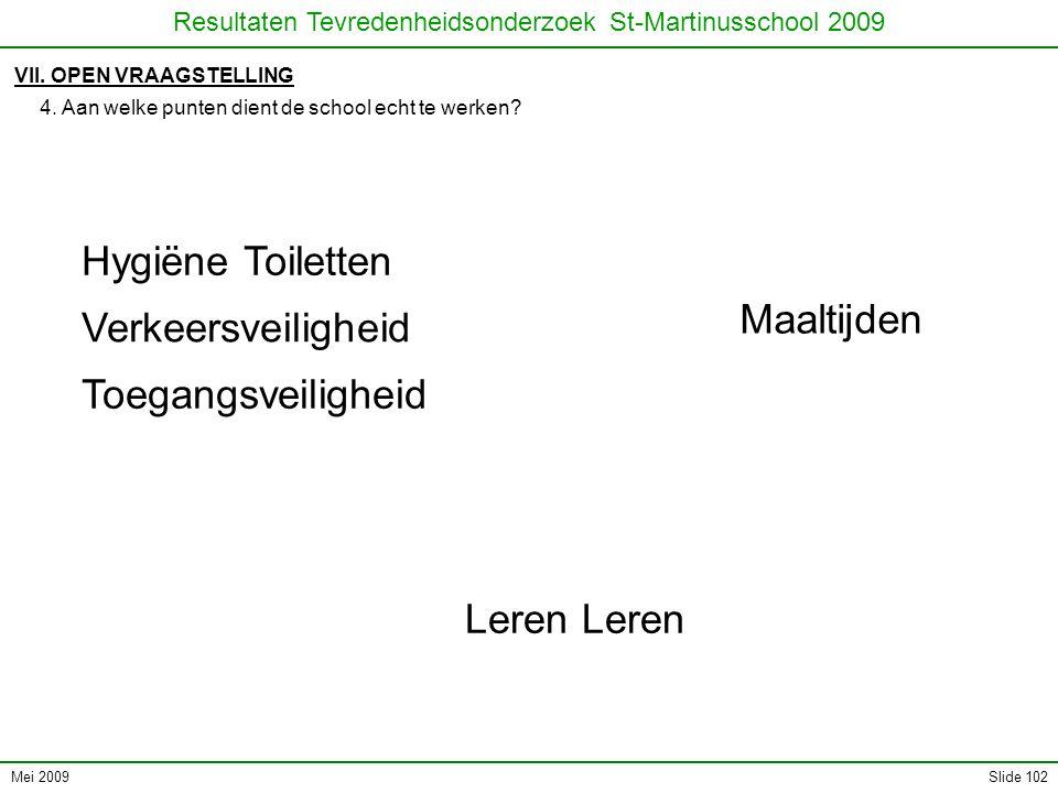 Mei 2009 Resultaten Tevredenheidsonderzoek St-Martinusschool 2009 Slide 102 VII. OPEN VRAAGSTELLING 4. Aan welke punten dient de school echt te werken