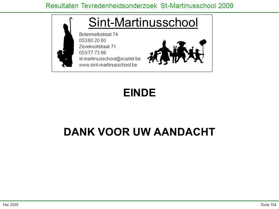 Mei 2009 Resultaten Tevredenheidsonderzoek St-Martinusschool 2009 Slide 104 Sint-Martinusschool Botermelkstraat 74 053/80.20.60 Zevekootstraat 71 053/77.73.99 st.martinusschool@scarlet.be www.sint-martinusschool.be EINDE DANK VOOR UW AANDACHT