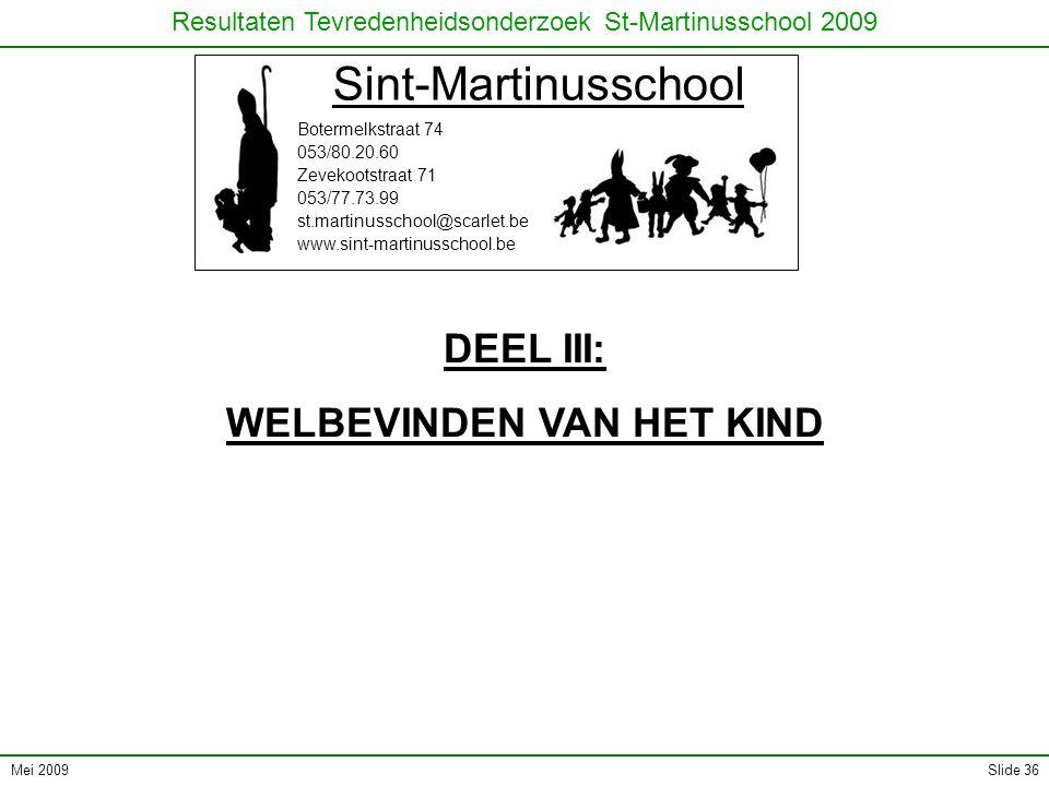 Mei 2009 Resultaten Tevredenheidsonderzoek St-Martinusschool 2009 Slide 36 Sint-Martinusschool Botermelkstraat 74 053/80.20.60 Zevekootstraat 71 053/7