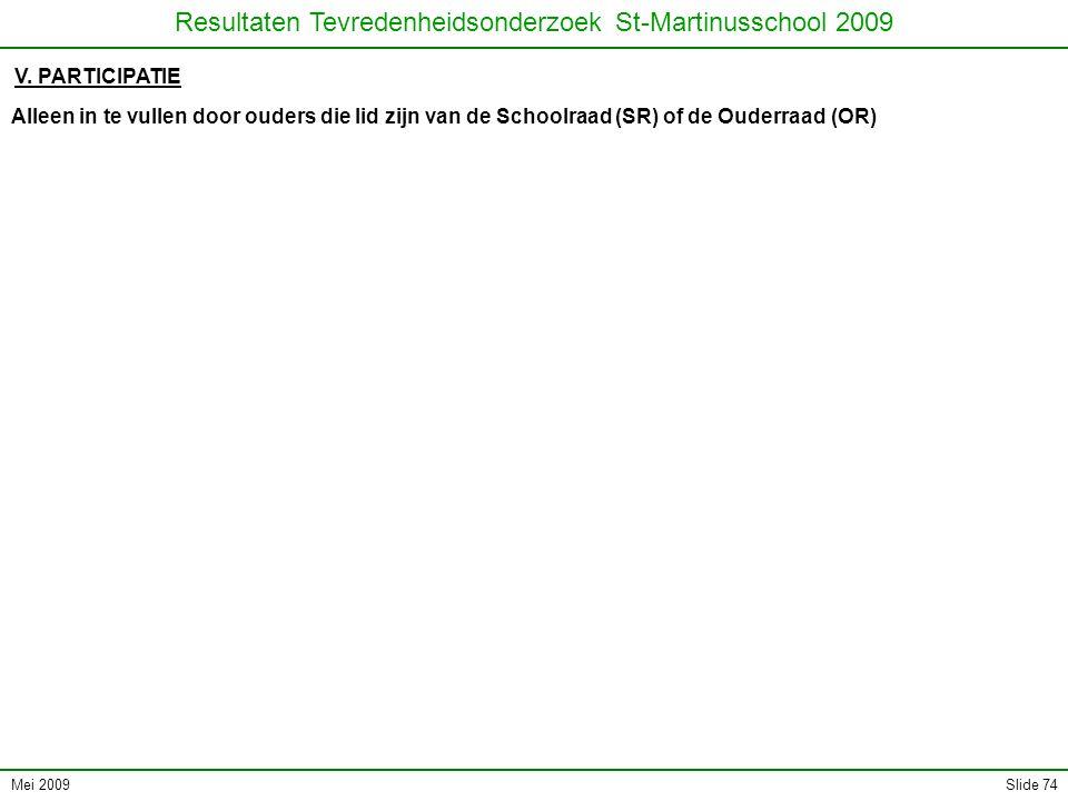 Mei 2009 Resultaten Tevredenheidsonderzoek St-Martinusschool 2009 Slide 74 V.