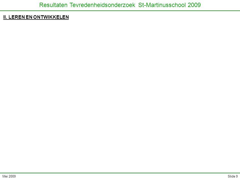 Mei 2009 Resultaten Tevredenheidsonderzoek St-Martinusschool 2009 Slide 9 II. LEREN EN ONTWIKKELEN