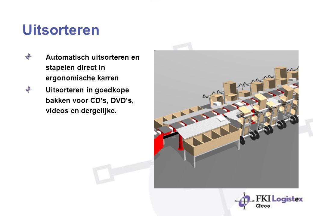 Uitsorteren Automatisch uitsorteren en stapelen direct in ergonomische karren Uitsorteren in goedkope bakken voor CD's, DVD's, videos en dergelijke.
