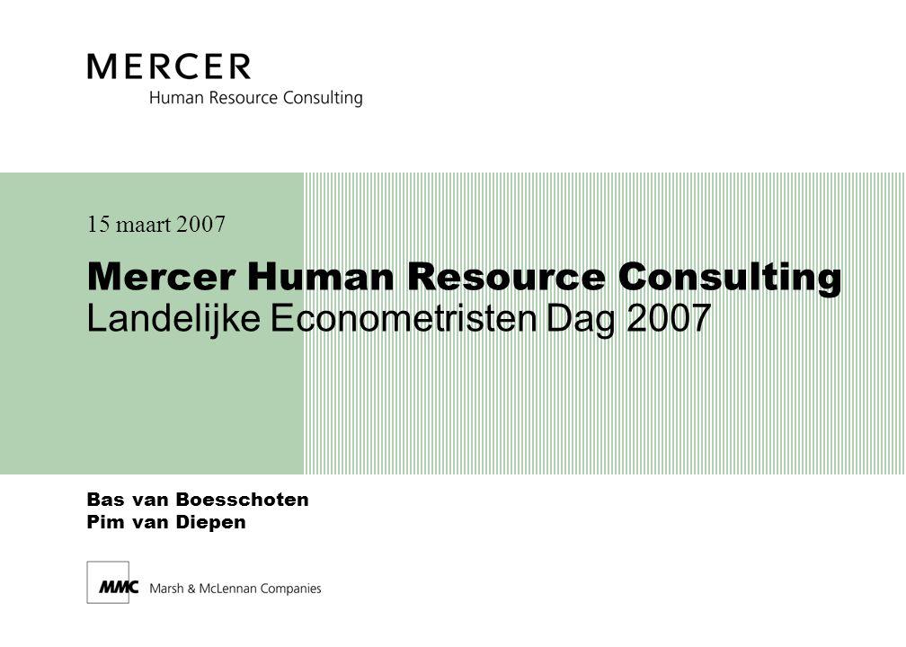 Mercer Human Resource Consulting 32 Pensioenverplichting Formule Projected Unit Credit Method: x : leeftijd t : toekomstig tijdstip n : duur tot pensioendatum