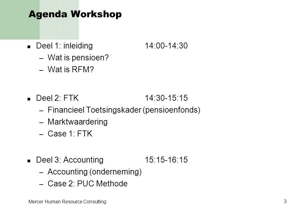 Mercer Human Resource Consulting 4 Agenda Workshop Deel 4: RFM16:15-17:00 – ALM als stuurmiddel – Case 3: ALM – Advisering ondernemingen