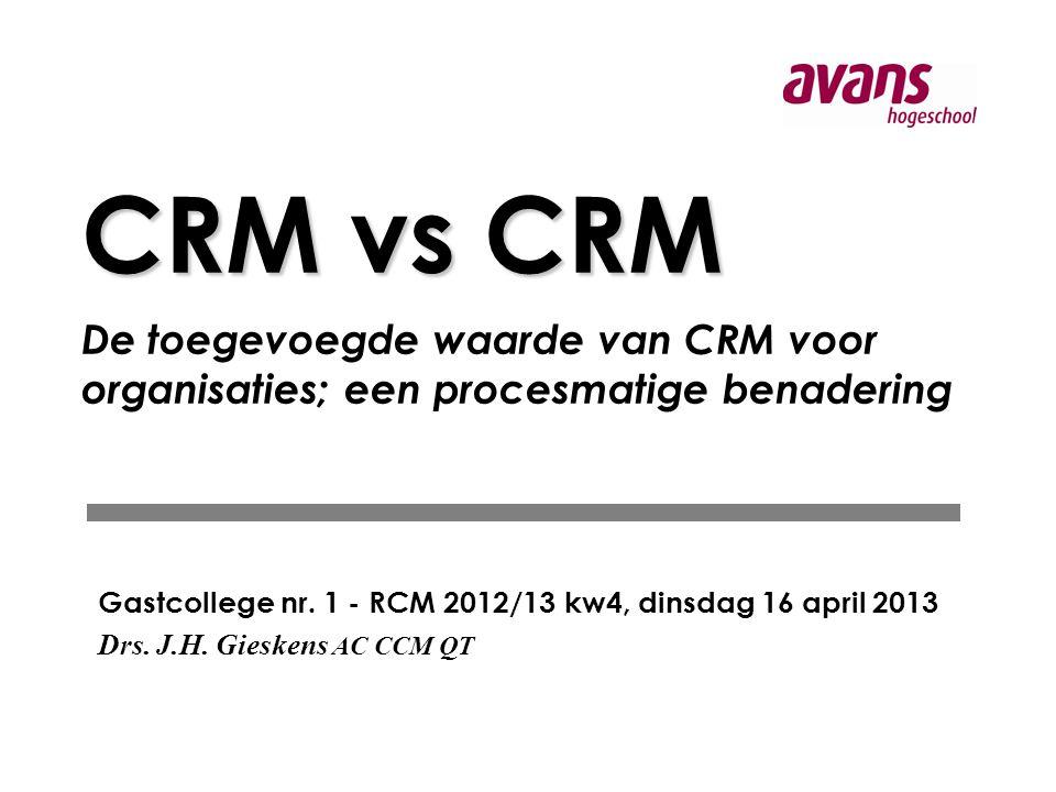 CRM vs CRM CRM vs CRM De toegevoegde waarde van CRM voor organisaties; een procesmatige benadering Gastcollege nr.