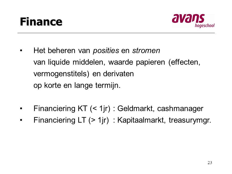 23 Finance Het beheren van posities en stromen van liquide middelen, waarde papieren (effecten, vermogenstitels) en derivaten op korte en lange termijn.