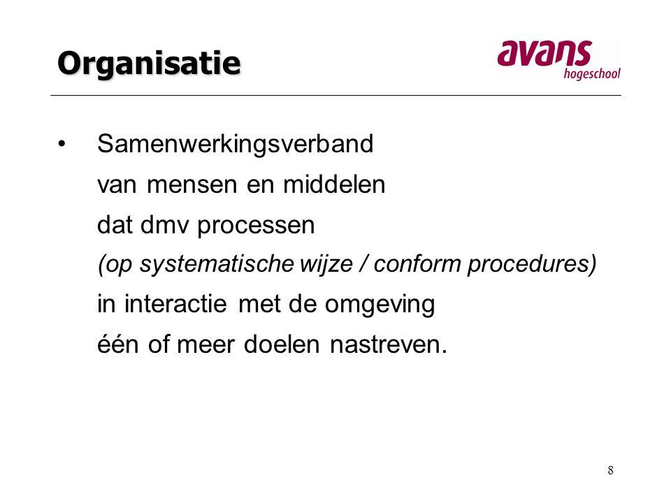 8 Organisatie Samenwerkingsverband van mensen en middelen dat dmv processen (op systematische wijze / conform procedures) in interactie met de omgeving één of meer doelen nastreven.