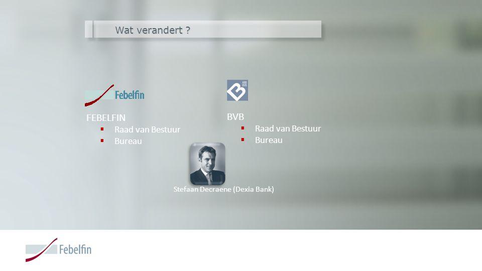 Wat verandert ? FEBELFIN  Raad van Bestuur  Bureau BVB  Raad van Bestuur  Bureau Stefaan Decraene (Dexia Bank)