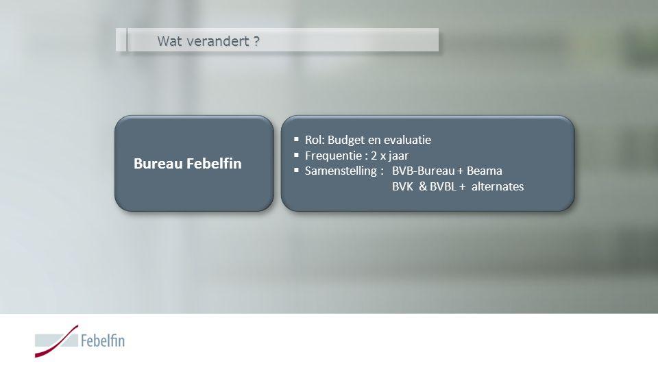 Wat verandert ? Bureau Febelfin  Rol: Budget en evaluatie  Frequentie : 2 x jaar  Samenstelling : BVB-Bureau + Beama BVK & BVBL + alternates  Rol: