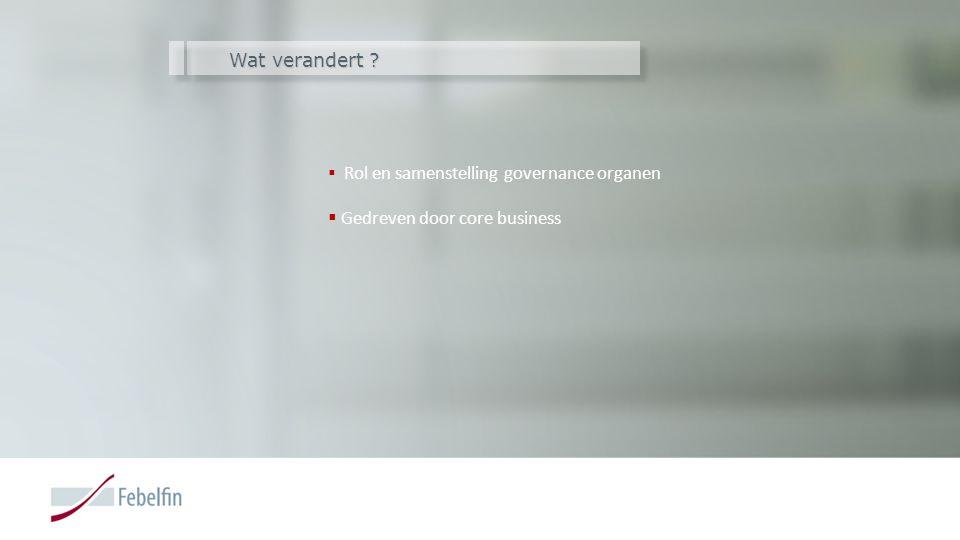 Wat verandert ?  Rol en samenstelling governance organen  Gedreven door core business