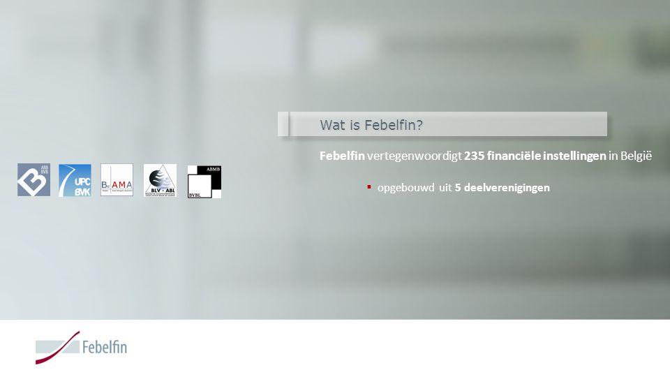 Wat is Febelfin? Febelfin vertegenwoordigt 235 financiële instellingen in België  opgebouwd uit 5 deelverenigingen