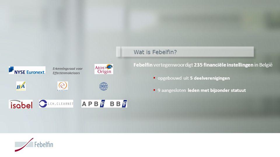 Wat is Febelfin? Febelfin vertegenwoordigt 235 financiële instellingen in België  opgebouwd uit 5 deelverenigingen  9 aangesloten leden met bijzonde