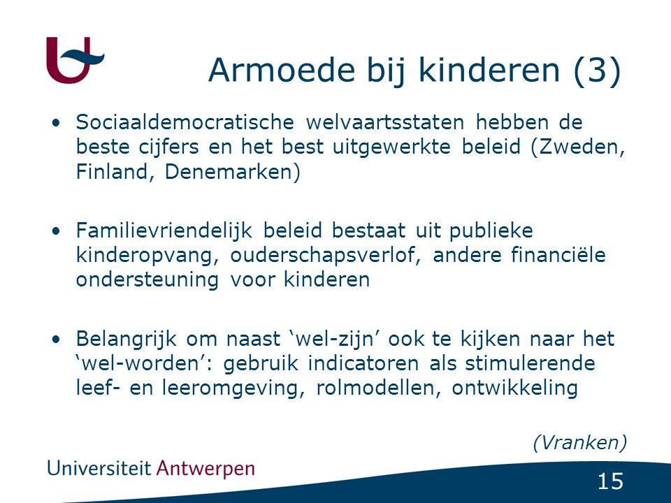 15 Armoede bij kinderen (3) Sociaaldemocratische welvaartsstaten hebben de beste cijfers en het best uitgewerkte beleid (Zweden, Finland, Denemarken) Familievriendelijk beleid bestaat uit publieke kinderopvang, ouderschapsverlof, andere financiële ondersteuning voor kinderen Belangrijk om naast 'wel-zijn' ook te kijken naar het 'wel-worden': gebruik indicatoren als stimulerende leef- en leeromgeving, rolmodellen, ontwikkeling (Vranken)