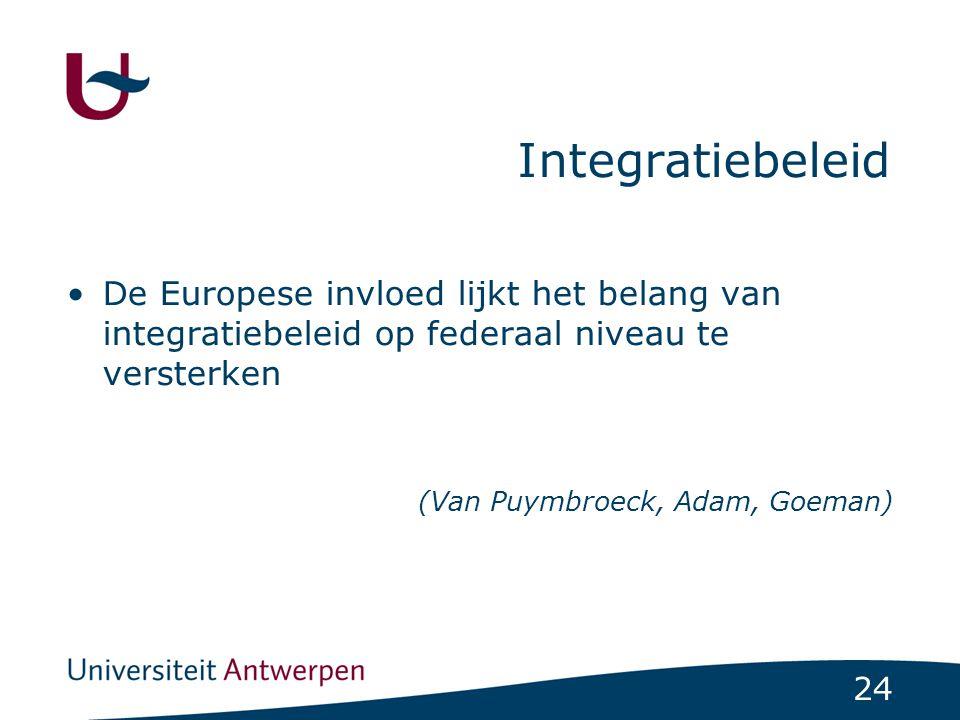 24 Integratiebeleid De Europese invloed lijkt het belang van integratiebeleid op federaal niveau te versterken (Van Puymbroeck, Adam, Goeman)