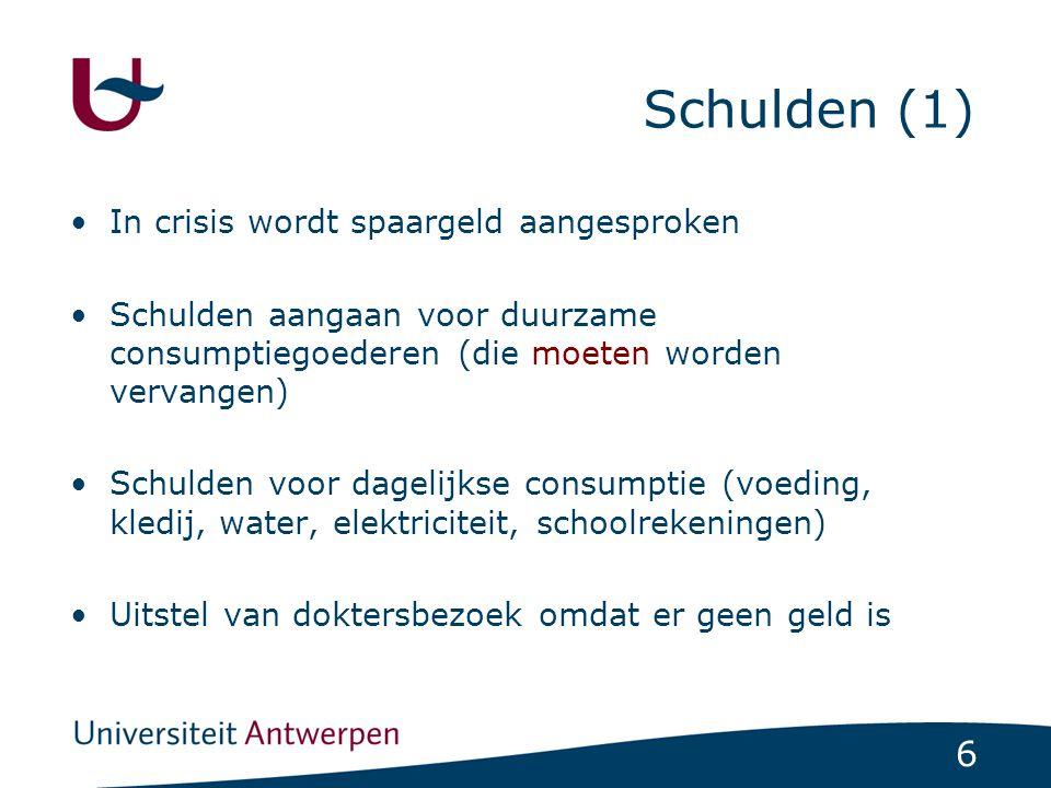 6 Schulden (1) In crisis wordt spaargeld aangesproken Schulden aangaan voor duurzame consumptiegoederen (die moeten worden vervangen) Schulden voor dagelijkse consumptie (voeding, kledij, water, elektriciteit, schoolrekeningen) Uitstel van doktersbezoek omdat er geen geld is