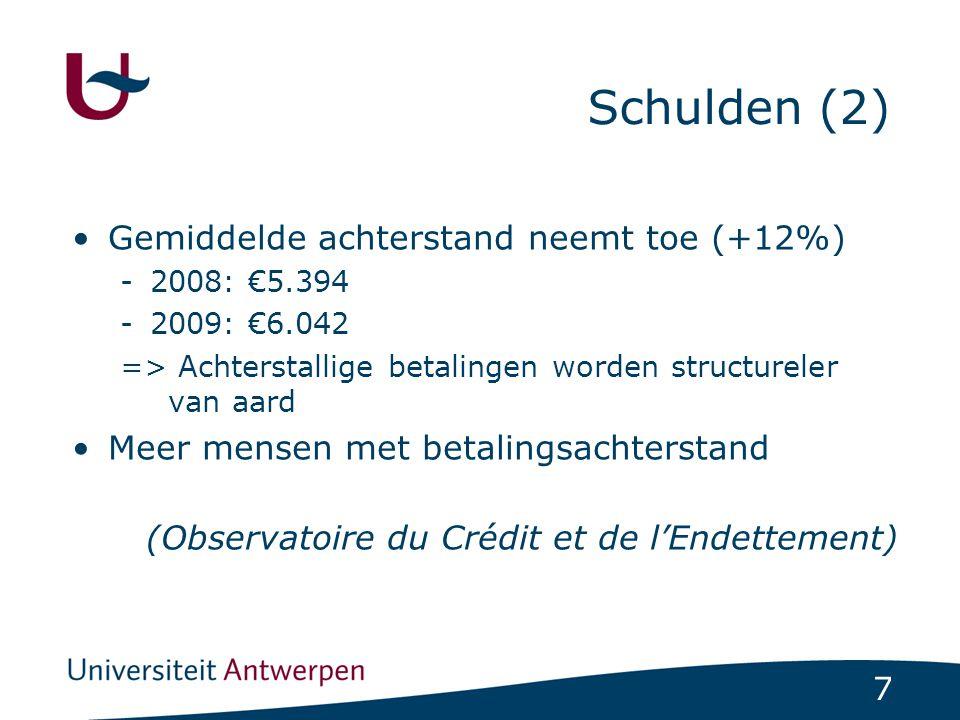 8 Schulden (3) Ruimtelijke verschillen in overmatige schuldenlast Provincie Antwerpen 5.38% Provincie Waals Brabant 5.65% Provincie Vlaams Brabant 4.38% Provincie Henegouwen 10.89% Provincie Limburg 5.17% Provincie Luik 9.46% Provincie Oost-Vlaanderen 5.55% Provincie Luxemburg 7.87% Provincie West- Vlaanderen 5.34% Province Namen 8.82% Vlaams Gewest 5.21% Waals Gewest 9.40% Brussels Hoofdstedelijk Gewest 10.22% Totaal België 7.28%