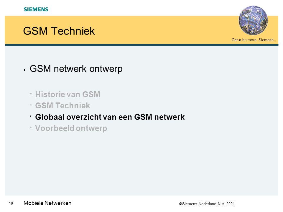  Siemens Nederland N.V. 2001 Get a bit more. Siemens. 17 Mobiele Netwerken GSM Techniek (8/8)