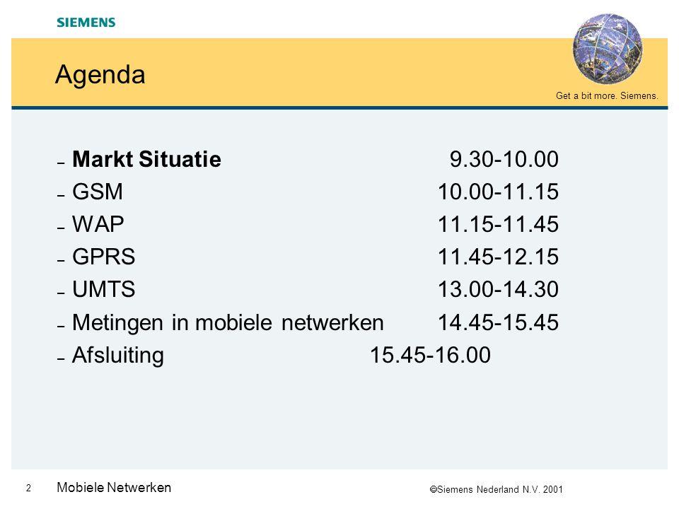  Siemens Nederland N.V. 2001 Get a bit more. Siemens. 1 Mobiele Netwerken MBO TELECOM/ICT Mobiele netwerken