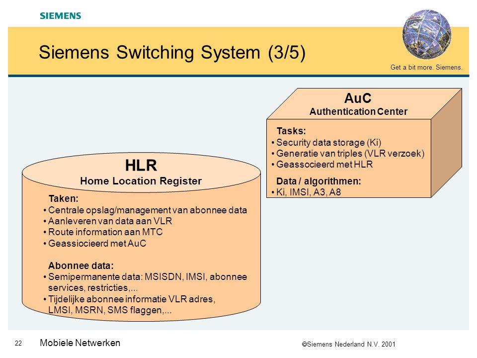  Siemens Nederland N.V. 2001 Get a bit more. Siemens. 21 Mobiele Netwerken Siemens Switching System (2/5)