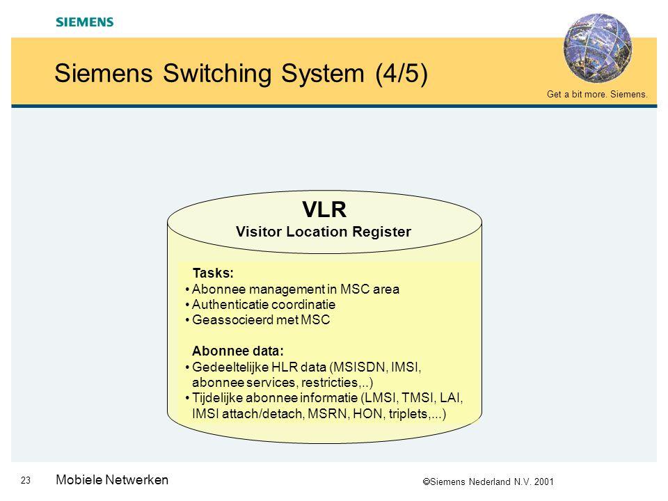  Siemens Nederland N.V. 2001 Get a bit more. Siemens. 22 Mobiele Netwerken Siemens Switching System (3/5) HLR Home Location Register Taken: Centrale