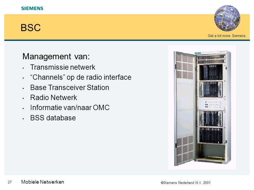  Siemens Nederland N.V. 2001 Get a bit more. Siemens. 26 Mobiele Netwerken TRAU MSCBSC TRAU 4 TCH's 16 kbit/s naar BTSs 4 TCH's 64 kbit/s 4 TCH's 64