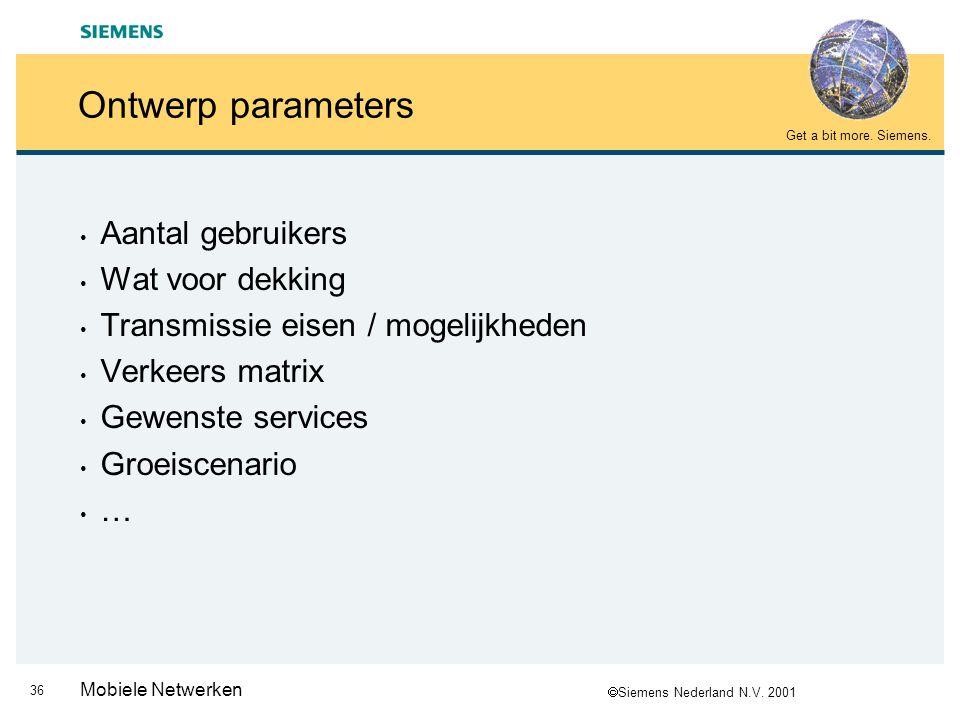  Siemens Nederland N.V. 2001 Get a bit more. Siemens. 35 Mobiele Netwerken Agenda GSM netwerk ontwerp * History van GSM * GSM Techniek * Globaal over