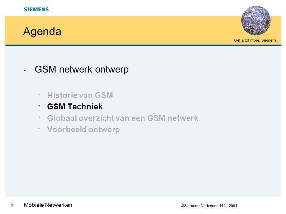  Siemens Nederland N.V. 2001 Get a bit more. Siemens. 8 Mobiele Netwerken Historie van GSM (4/4) GSM: Since 1992 Freq's : 900, 1800, 1900 Usage : Glo