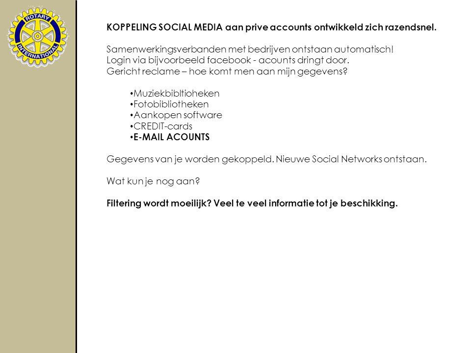 KOPPELING SOCIAL MEDIA aan prive accounts ontwikkeld zich razendsnel.
