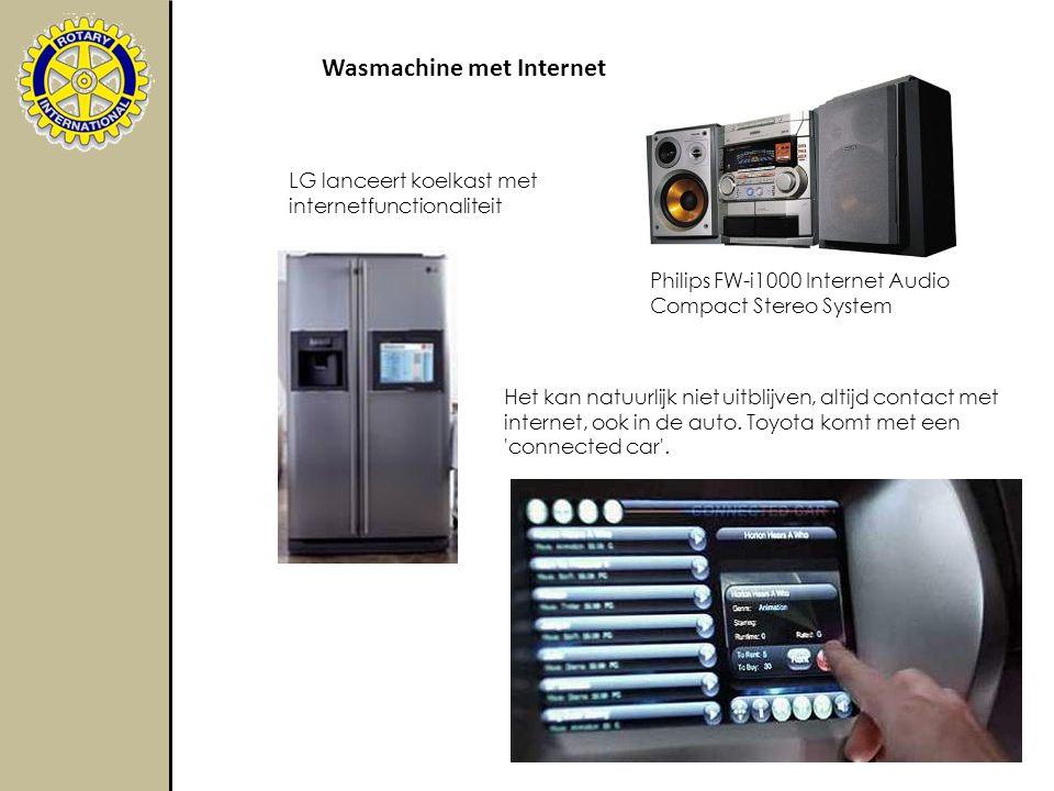 LG lanceert koelkast met internetfunctionaliteit Philips FW-i1000 Internet Audio Compact Stereo System Wasmachine met Internet Het kan natuurlijk niet uitblijven, altijd contact met internet, ook in de auto.