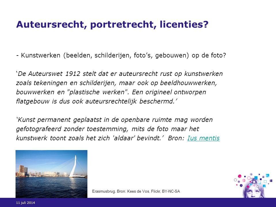11 juli 2014 Auteursrecht, portretrecht, licenties.