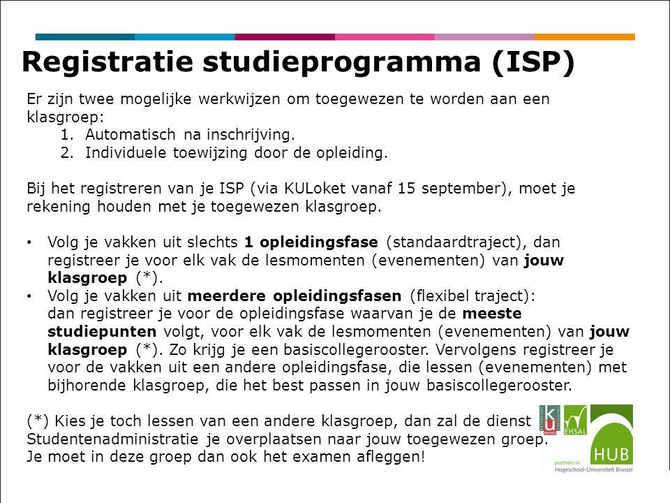 Registratie studieprogramma (ISP) Er zijn twee mogelijke werkwijzen om toegewezen te worden aan een klasgroep: 1.Automatisch na inschrijving.