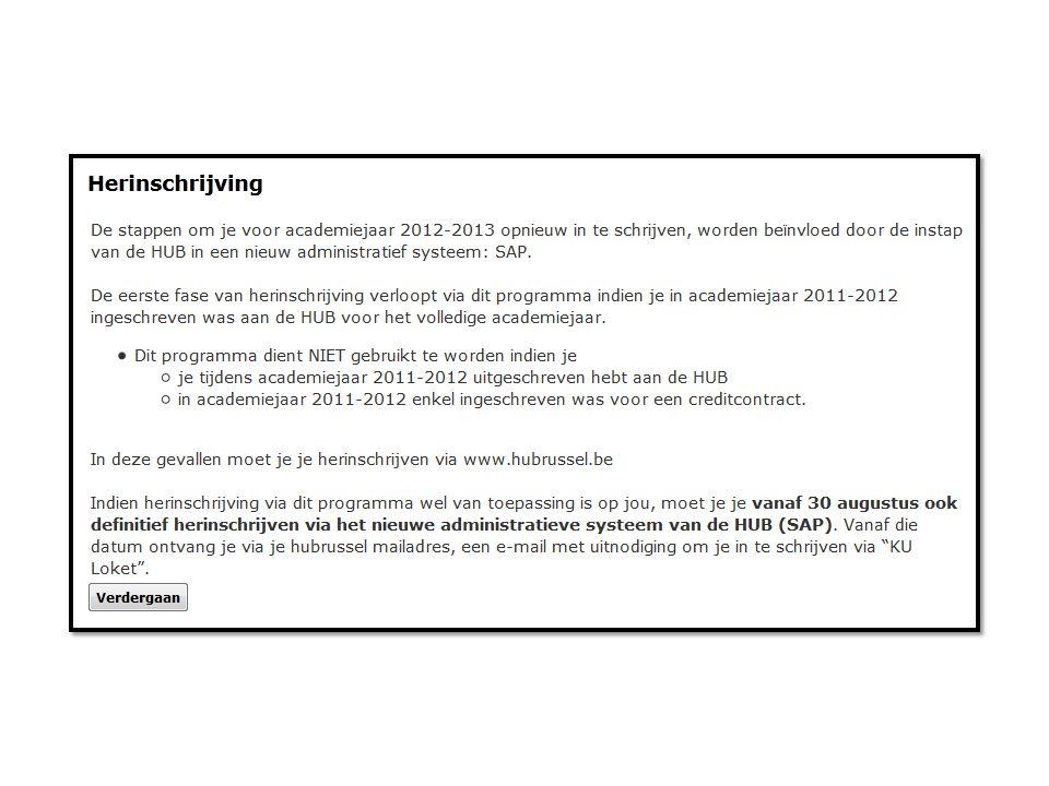STAP 2 HUBRUSSEL.NET: Rubriek Mijn Loket -> kies voor Fase 2: Mijn herinschrijving (fase 2)