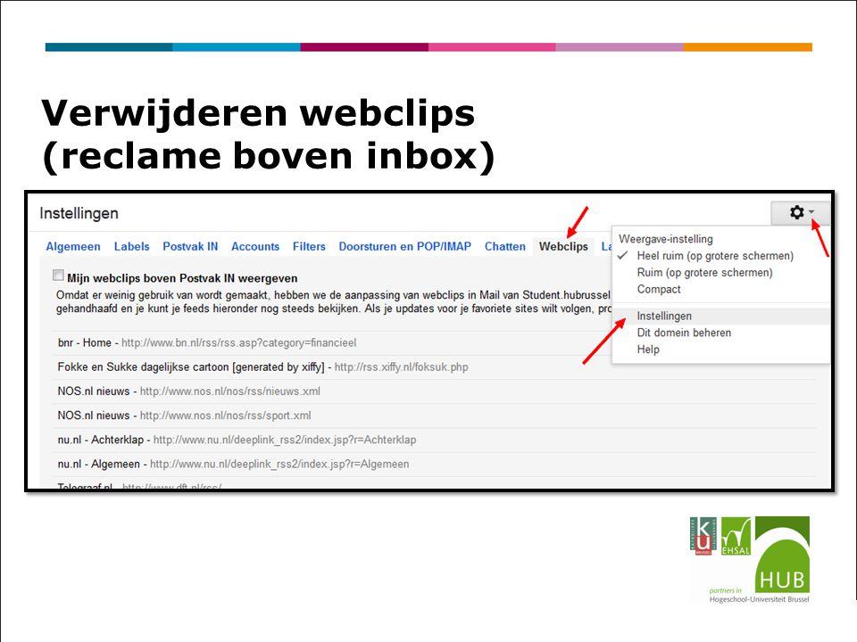Verwijderen webclips (reclame boven inbox)
