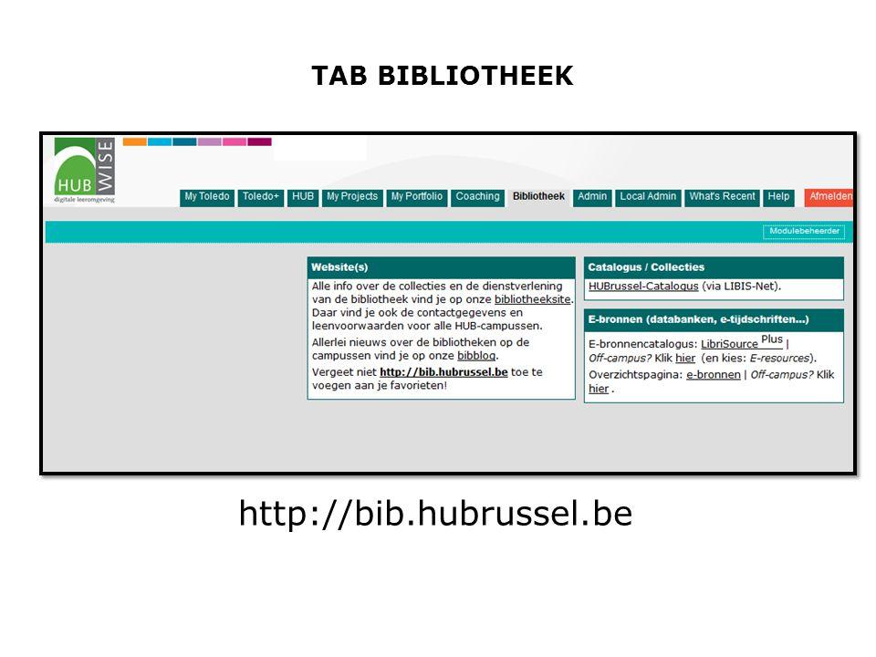TAB BIBLIOTHEEK http://bib.hubrussel.be
