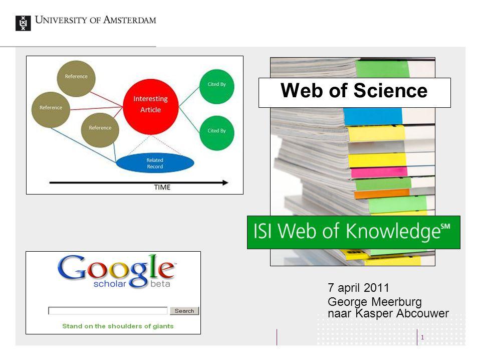 Web of Knowledge 2 Web of Science: 1975 – heden Zoeken naar artikelen Citaties Journal Citation Reports (JCR): Statistische berekening van hoe vaak tijdschrift wordt geciteerd.