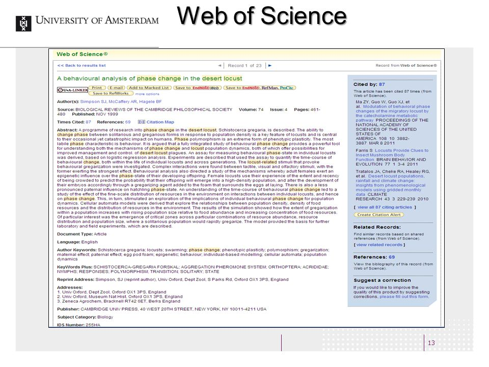 13 Web of Science