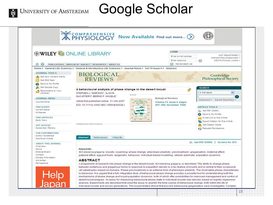 15 Google Scholar